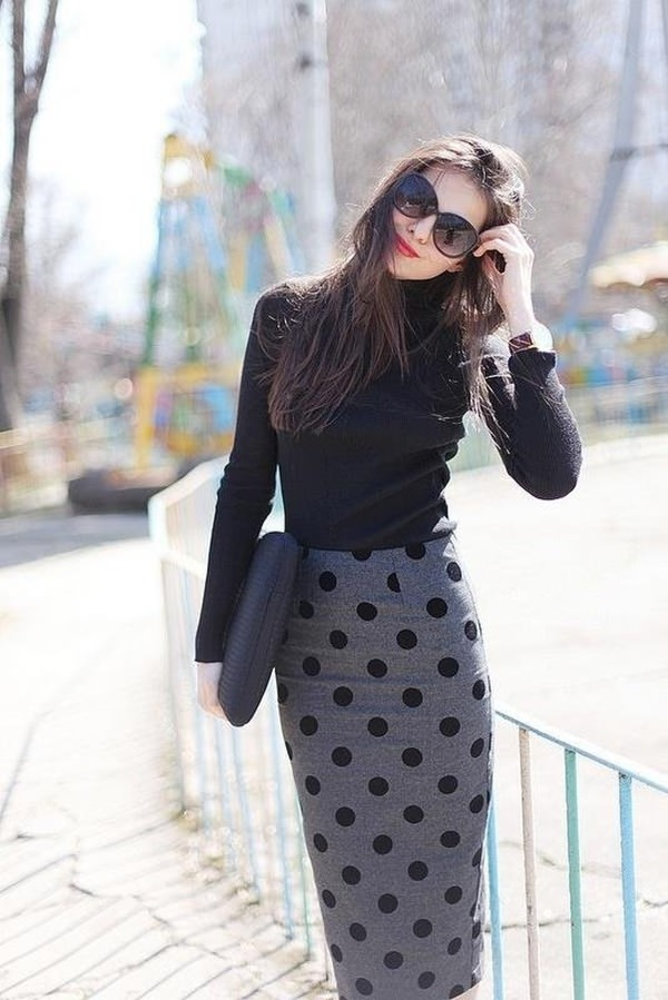 nice long pencil skirt outfit ideas for women