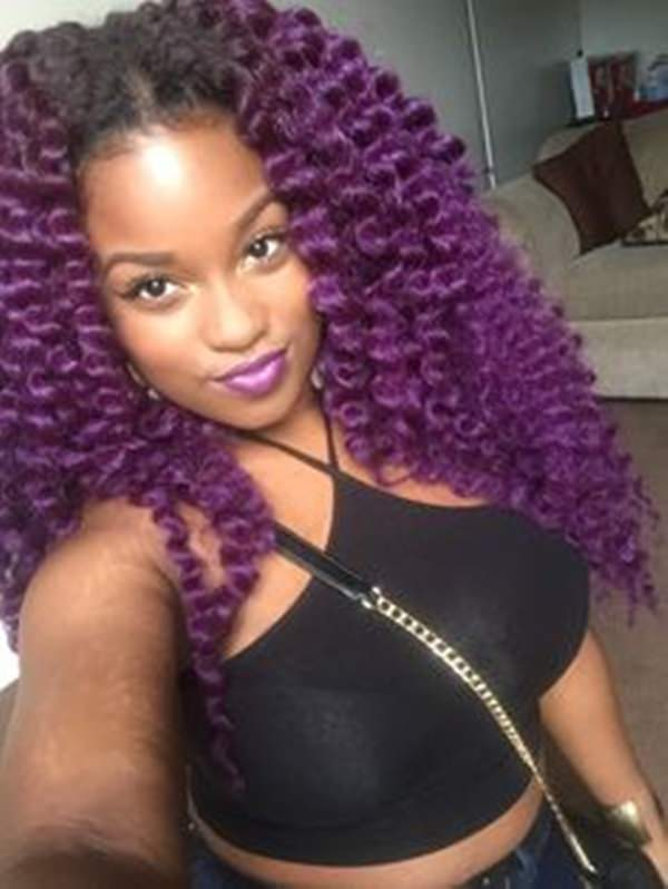 We sure do like our purple hair today! The loose and long wavy style ...