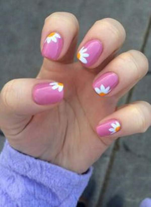 Simple nail designs pink : Gallery for gt pink nails with flower designs