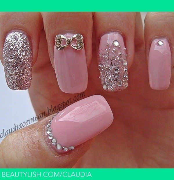 64020216-pink-nail-designs These silver ... - 67 Innocently Sexy Pink Nail Designs (Photos)