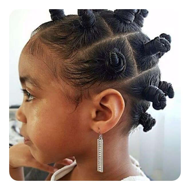 74 cool bantu knots hairstyles with how to tutorials another example of a style with bantu knots that will make your child feel like a million bucks look how cute these styles are for children thecheapjerseys Image collections