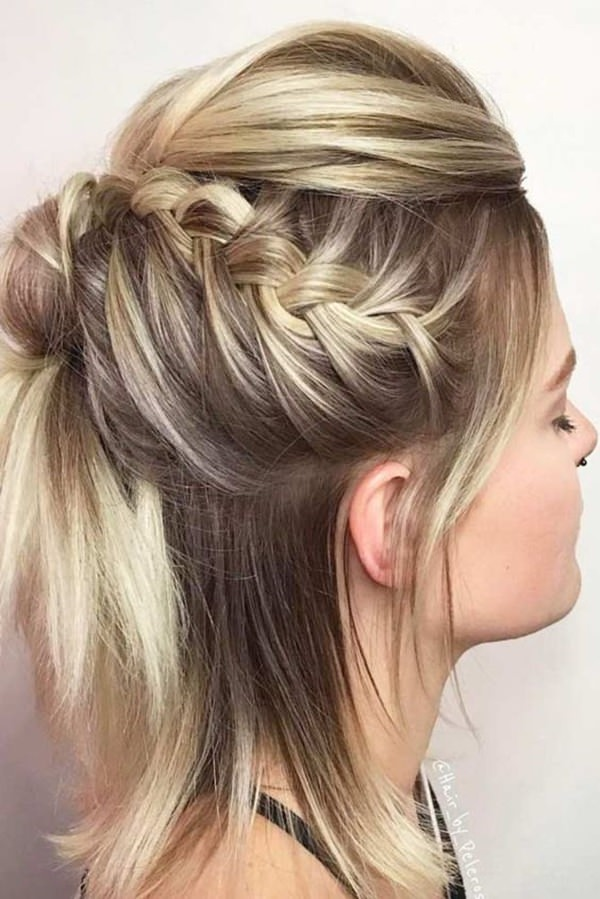 A Y Style That Has High Braid In This Partial Updo