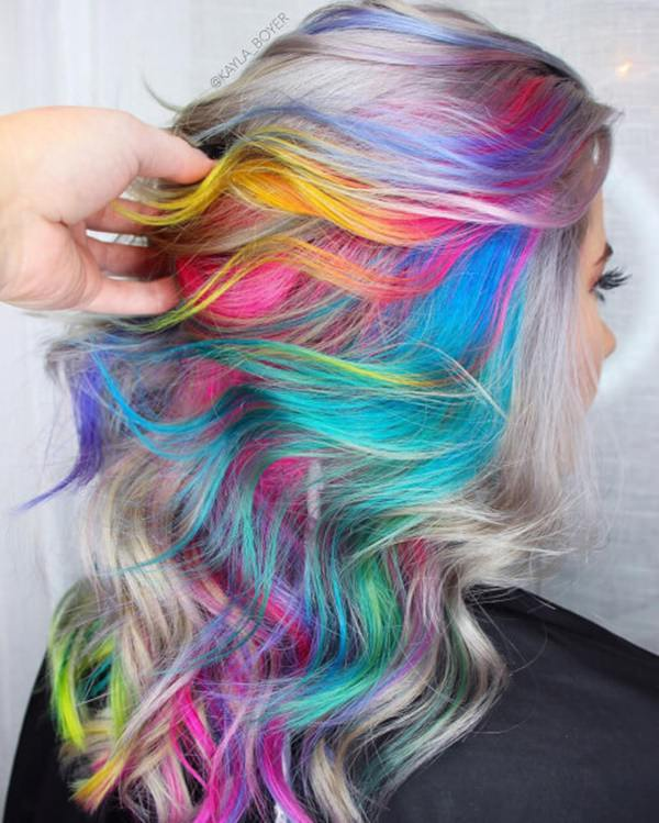 Image result for rainbow grey hair
